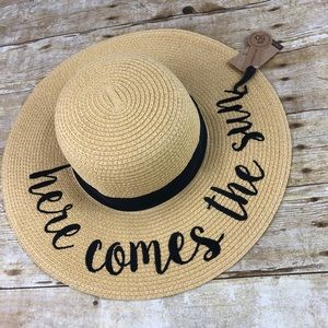 Straw Beach Hat Here Comes the Sun UV Protection